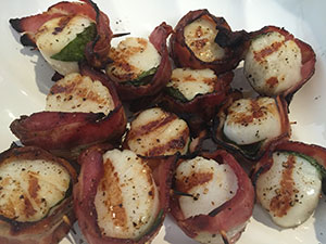 Bacon Wrapped Basil Scallops